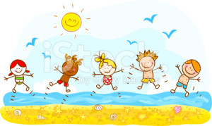 happy-summer-holiday-kids-jumping-at-beach-ocean-cartoon-illustration